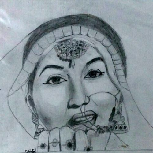 madhubala of mughal-e- azam, 10 x 9 inch, nikhil kamble,portrait drawings,paintings for living room,drawing paper,graphite pencil,10x9inch,GAL012123156