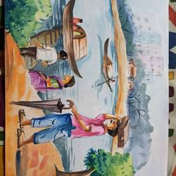 ferry ghat, 16 x 8 inch, subham roy,16x8inch,drawing paper,paintings,conceptual paintings,paintings for school,mixed media,GAL01992531573