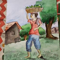fruit vendor, 15 x 8 inch, subham roy,15x8inch,drawing paper,paintings,modern art paintings,paintings for kids room,mixed media,GAL01992531576