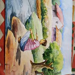 fishing, 8 x 15 inch, subham roy,8x15inch,drawing paper,paintings,nature paintings   scenery paintings,paintings for bathroom,watercolor,GAL01992531578