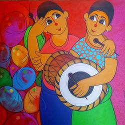 musical day , 24 x 24 inch, dnyaneshwar  bembade ,24x24inch,canvas,paintings,figurative paintings,paintings for dining room,paintings for living room,paintings for bedroom,paintings for office,paintings for kids room,paintings for hotel,paintings for school,paintings for hospital,acrylic color,GAL046431581