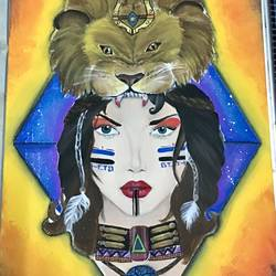 lion medusa, 15 x 25 inch, harvallav kaur brar,15x25inch,canvas,paintings,abstract paintings,figurative paintings,conceptual paintings,acrylic color,GAL01994231584