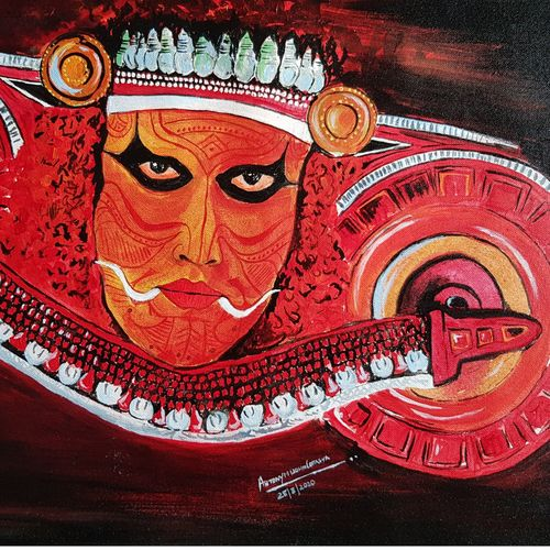 the face of theyyam, 23 x 15 inch, antony correya,23x15inch,canvas,paintings,kerala murals painting,acrylic color,GAL0971831589