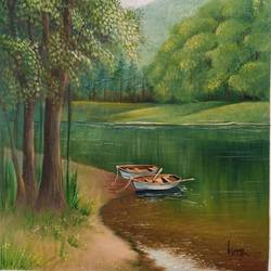 forest lake, 14 x 18 inch, kumar ranadive,14x18inch,canvas,paintings,landscape paintings,paintings for living room,oil color,GAL01956931596
