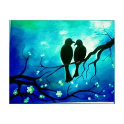 twin birds, 16 x 12 inch, riya rana,16x12inch,canvas,paintings,nature paintings | scenery paintings,acrylic color,GAL01998131600
