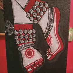 dancing feet, 8 x 10 inch, shambhavi mishra mishra,8x10inch,canvas board,paintings,folk art paintings,paintings for living room,paintings for bedroom,paintings for office,acrylic color,GAL01966831605