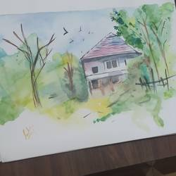 landscape , 9 x 12 inch, sukanya pore,9x12inch,thick paper,paintings,landscape paintings,paintings for living room,paintings for office,paintings for hotel,paintings for school,watercolor,GAL01937631607