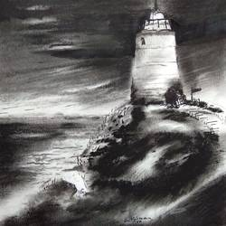 lighthouse, 11 x 8 inch, kiran avarsekar,11x8inch,paper,drawings,paintings for living room,fine art drawings,paintings for living room,charcoal,GAL01997731609