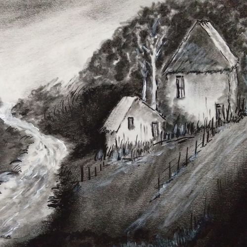 river by the house, 11 x 8 inch, kiran avarsekar,11x8inch,paper,drawings,paintings for dining room,paintings for living room,paintings for bedroom,paintings for office,fine art drawings,paintings for dining room,paintings for living room,paintings for bedroom,paintings for office,charcoal,GAL01997731610