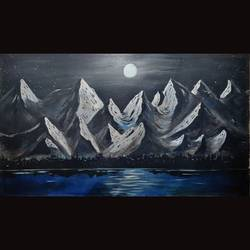 snow mountains under full moon, 36 x 21 inch, priyanshu sharma,36x21inch,canvas,paintings,landscape paintings,nature paintings | scenery paintings,art deco paintings,paintings for dining room,paintings for living room,paintings for bedroom,paintings for office,paintings for hotel,paintings for school,paintings for hospital,acrylic color,GAL0973631617