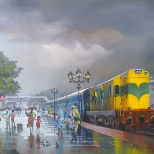 wet platform-yellow train, 84 x 48 inch, bijay  biswaal,cityscape paintings,paintings for living room,canvas,acrylic color,84x48inch,GAL011743162