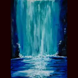 waterfall, 12 x 16 inch, priyanshu sharma,12x16inch,drawing paper,paintings,landscape paintings,art deco paintings,paintings for dining room,paintings for living room,paintings for bedroom,paintings for office,paintings for hotel,paintings for school,paintings for hospital,acrylic color,GAL0973631621