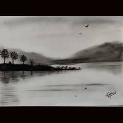 black & white landscape, 12 x 16 inch, priyanshu sharma,12x16inch,drawing paper,drawings,art deco drawings,paintings for dining room,paintings for living room,paintings for bedroom,paintings for office,paintings for hotel,paintings for school,paintings for hospital,charcoal,GAL0973631626