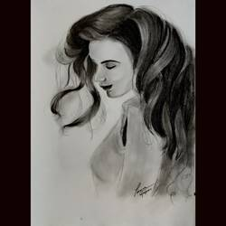 lady , 12 x 16 inch, priyanshu sharma,12x16inch,drawing paper,drawings,art deco drawings,portrait drawings,paintings for dining room,paintings for living room,paintings for bedroom,paintings for office,paintings for hotel,paintings for school,paintings for hospital,charcoal,GAL0973631627