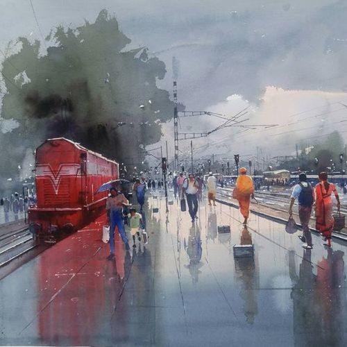 wet platform red, 28 x 22 inch, bijay  biswaal,cityscape paintings,paintings for living room,arches paper,watercolor,28x22inch,GAL011743163