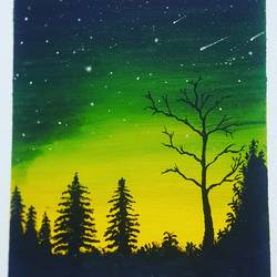 bright night sky, 10 x 12 inch, pratap jambu,10x12inch,canvas,abstract paintings,landscape paintings,acrylic color,GAL01984331636