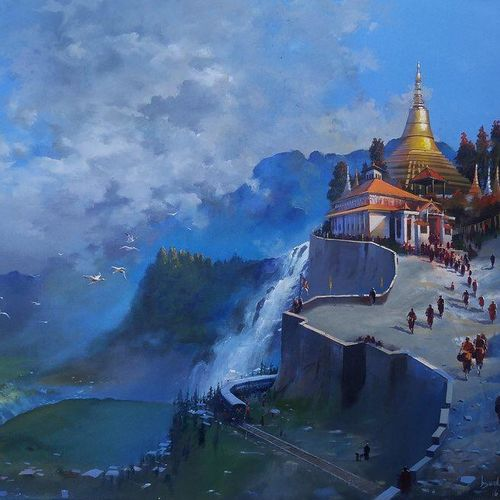 north east wet platform, 48 x 36 inch, bijay  biswaal,cityscape paintings,paintings for living room,canvas,acrylic color,48x36inch,GAL011743164