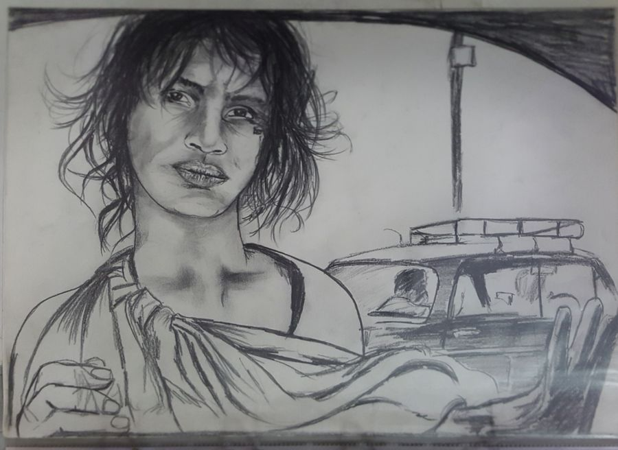 a scrape for my day, 17 x 12 inch, pratap jambu,17x12inch,thick paper,drawings,portrait drawings,realism drawings,paintings for dining room,paintings for living room,paintings for bedroom,paintings for office,paintings for kids room,paintings for hotel,paintings for school,paintings for hospital,charcoal,pencil color,GAL01984331648