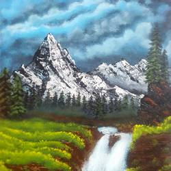 landscape snow mountains, 16 x 20 inch, pratap jambu,16x20inch,canvas,paintings,flower paintings,landscape paintings,paintings for dining room,paintings for living room,paintings for bedroom,paintings for office,paintings for bathroom,paintings for kids room,paintings for hotel,paintings for kitchen,paintings for school,paintings for hospital,acrylic color,GAL01984331649