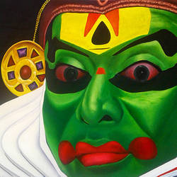 of kathakali major forms of classical indian dance, 45 x 31 inch, gopumon tk,figurative paintings,paintings for living room,expressionist paintings,canvas,acrylic color,45x31inch,GAL012153165