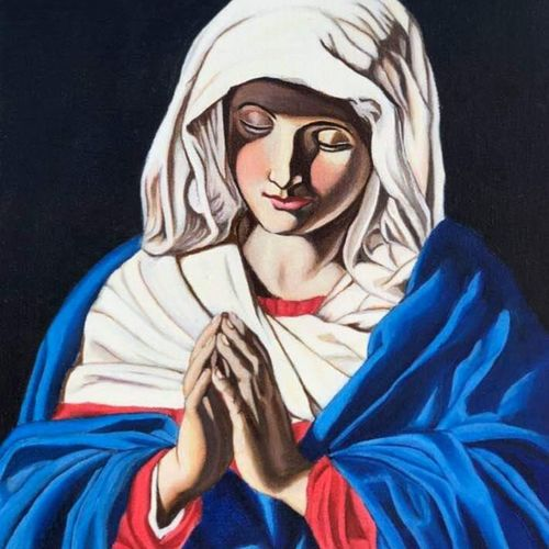 immaculate mary, 15 x 12 inch, johnson raj,15x12inch,canvas,paintings,religious paintings,oil color,GAL01840631653
