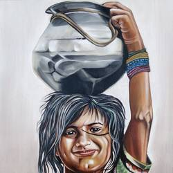 girl with a pot, 19 x 21 inch, johnson raj,19x21inch,canvas,paintings,portrait paintings,oil color,GAL01840631654