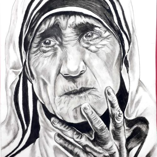 mother teresa, 12 x 10 inch, johnson raj,12x10inch,thick paper,drawings,fine art drawings,charcoal,graphite pencil,GAL01840631655