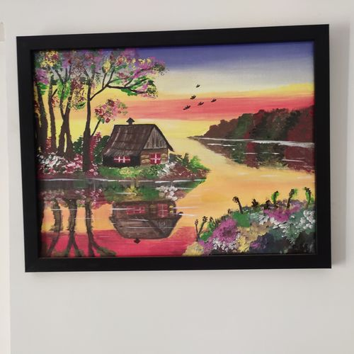 beautiful sunrise, 16 x 12 inch, shweta mehta,16x12inch,canvas,paintings,flower paintings,landscape paintings,conceptual paintings,still life paintings,nature paintings | scenery paintings,paintings for dining room,paintings for living room,paintings for bedroom,paintings for office,paintings for kids room,paintings for hotel,acrylic color,GAL01177431657
