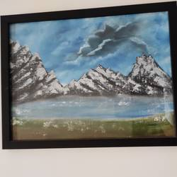 snow capped mountains, 16 x 12 inch, shweta mehta,16x12inch,canvas,paintings,landscape paintings,conceptual paintings,still life paintings,nature paintings | scenery paintings,paintings for dining room,paintings for living room,paintings for bedroom,paintings for kids room,paintings for hotel,paintings for school,acrylic color,oil color,GAL01177431658