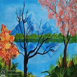 the trees and the river, 17 x 12 inch, abhik mahanti,17x12inch,canvas,paintings,nature paintings | scenery paintings,acrylic color,GAL0404431659
