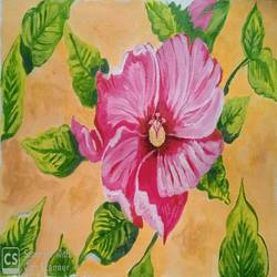 the hibiscus, 16 x 11 inch, abhik mahanti,16x11inch,canvas,paintings,flower paintings,nature paintings | scenery paintings,acrylic color,GAL0404431660