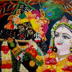 krishna & radha, 25 x 35 inch, shiuli majumder,25x35inch,canvas,paintings,religious paintings,radha krishna paintings,acrylic color,GAL01355231662