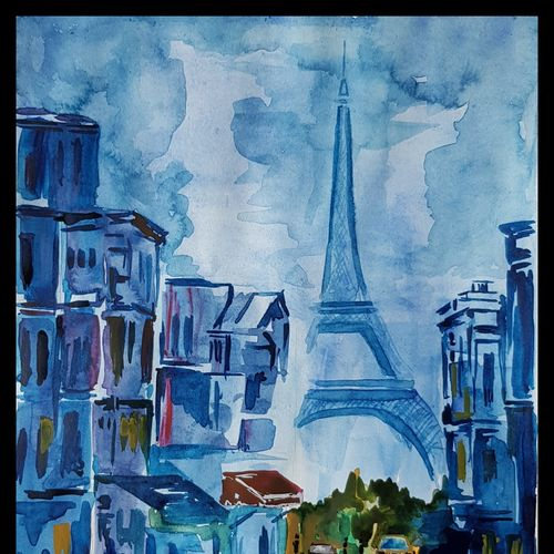 night in paris, 11 x 14 inch, antony correya,11x14inch,thick paper,paintings,abstract paintings,landscape paintings,abstract expressionism paintings,minimalist paintings,realism paintings,street art,surrealism paintings,realistic paintings,paintings for dining room,paintings for living room,paintings for bedroom,paintings for office,paintings for bathroom,paintings for kids room,paintings for hotel,paintings for kitchen,paintings for school,paintings for hospital,watercolor,GAL0971831663
