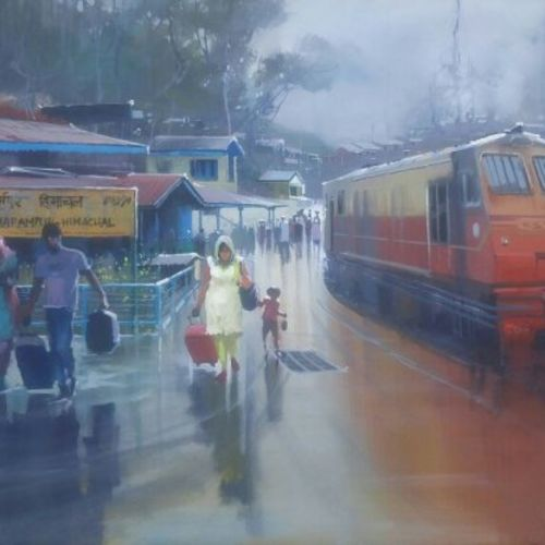wet platform himanchal, 36 x 22 inch, bijay  biswaal,cityscape paintings,paintings for living room,canvas,acrylic color,36x22inch,GAL011743167