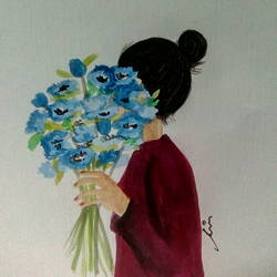 girl behind flowers, 6 x 8 inch, ramya k,6x8inch,thick paper,flower paintings,paintings for bedroom,paintings for bedroom,watercolor,GAL02004931672