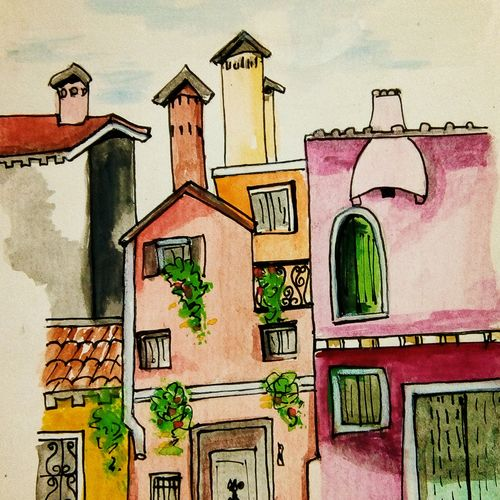 sweet home, 6 x 8 inch, ramya k,6x8inch,thick paper,paintings,street art,paintings for living room,watercolor,GAL02004931675