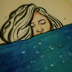 deep into the water, 6 x 8 inch, ramya k,6x8inch,thick paper,drawings,modern drawings,paintings for bedroom,pastel color,GAL02004931676