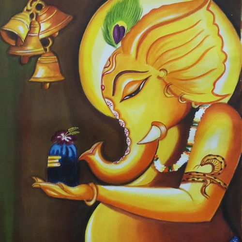 ganpati with shiv ling, 16 x 20 inch, sandhya kumari,16x20inch,canvas,paintings,figurative paintings,flower paintings,modern art paintings,religious paintings,ganesha paintings | lord ganesh paintings,love paintings,kids paintings,lord shiva paintings,paintings for dining room,paintings for living room,paintings for bedroom,paintings for office,paintings for kids room,paintings for hotel,paintings for kitchen,paintings for school,paintings for hospital,acrylic color,GAL0365931677