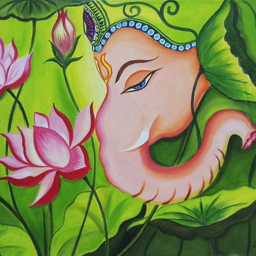 ganpati with lotus flower, 18 x 24 inch, sandhya kumari,18x24inch,canvas,paintings,wildlife paintings,figurative paintings,flower paintings,modern art paintings,religious paintings,nature paintings | scenery paintings,ganesha paintings | lord ganesh paintings,love paintings,children paintings,lord shiva paintings,paintings for dining room,paintings for living room,paintings for bedroom,paintings for office,paintings for kids room,paintings for hotel,paintings for kitchen,paintings for school,paintings for hospital,acrylic color,GAL0365931678