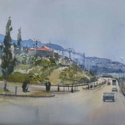 antalya turkey, 19 x 14 inch, bijay  biswaal,cityscape paintings,paintings for living room,paper,watercolor,19x14inch,GAL011743168