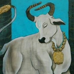 bull, 36 x 30 inch, shatakshi  sharma,36x30inch,canvas,paintings,abstract paintings,animal paintings,paintings for dining room,paintings for living room,paintings for bedroom,paintings for office,paintings for hotel,paintings for kitchen,paintings for school,paintings for hospital,acrylic color,wood,GAL0670331684