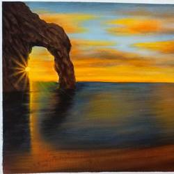 sunset, 14 x 18 inch, kumar ranadive,14x18inch,canvas,paintings,landscape paintings,paintings for living room,acrylic color,GAL01956931689