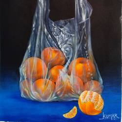 an orange grows immunity, 14 x 18 inch, kumar ranadive,14x18inch,canvas,paintings,realistic paintings,paintings for dining room,acrylic color,GAL01956931691