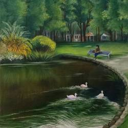 garden lake, 14 x 18 inch, kumar ranadive,14x18inch,canvas,landscape paintings,paintings for living room,paintings for living room,oil color,GAL01956931692
