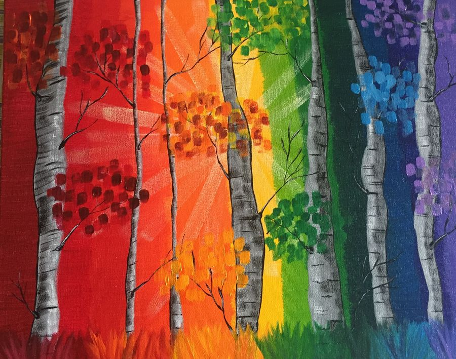 birched rainbow, 16 x 20 inch, beverly  dsouza ,abstract paintings,paintings for living room,canvas,acrylic color,16x20inch,GAL0129317