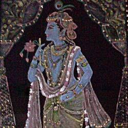 krishna on velvet, 12 x 18 inch, swetha srinivasan,religious paintings,paintings for living room,paintings for bedroom,radha krishna paintings,cloth,fabric,12x18inch,GAL012013170