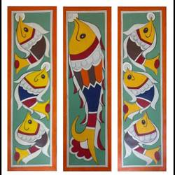 three sets of fishes , 30 x 35 inch, somya  saxena ,30x35inch,fabriano sheet,paintings,folk art paintings,acrylic color,GAL01996731700