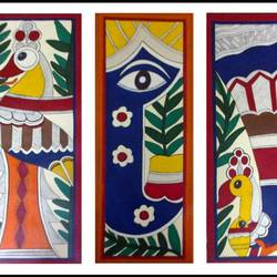three sets of birds , 30 x 35 inch, somya  saxena ,30x35inch,fabriano sheet,paintings,folk art paintings,paintings for living room,acrylic color,GAL01996731701