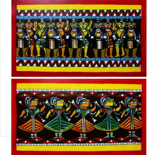 folk dancers  and musicians , 12 x 30 inch, somya  saxena ,12x30inch,fabriano sheet,paintings,folk art paintings,paintings for living room,acrylic color,GAL01996731704