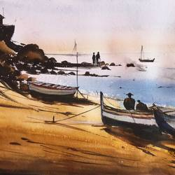 beach boat, 19 x 11 inch, shankhadeep  mondal,19x11inch,handmade paper,paintings,landscape paintings,modern art paintings,conceptual paintings,nature paintings | scenery paintings,paintings for dining room,paintings for living room,paintings for bedroom,paintings for office,paintings for bathroom,paintings for kids room,paintings for hotel,paintings for kitchen,paintings for school,paintings for hospital,watercolor,GAL01403031706